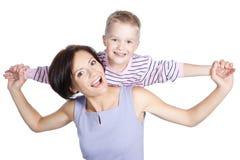 Abbildung der glücklichen Mutter und des kleinen Sohns Stockfotos