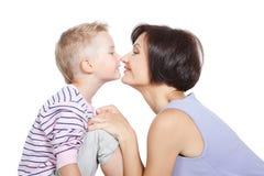 Abbildung der glücklichen Mutter und des kleinen Sohns Stockbilder