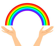 Abbildung der Hände mit Regenbogen Stockfotos