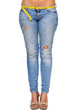 Abbildung der jungen sexy Frau in der Blue Jeans Stockbild