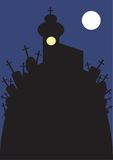 Abbildung der Kirche und des Kirchhofs nachts Stockfotos