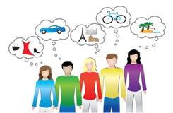 Abbildung der Leute oder des Verbrauchers braucht und wünscht Stockfotos