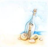 Abbildung der Meldung in einer Flasche lizenzfreie abbildung