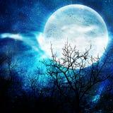 Abbildung der Nacht mit einem Mond Stockfotos