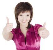 Abbildung der netten Frau mit den Daumen oben Stockfotos