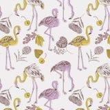 Abbildung der purpurroten und gelben Flamingos Stockfotos