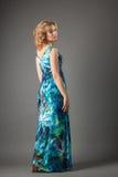 Abbildung der reizenden Frau im langen Kleid Lizenzfreies Stockfoto