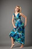 Abbildung der reizenden Frau im langen Kleid Stockbilder