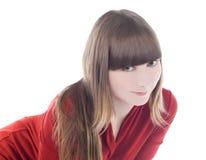 Abbildung der reizenden Frau im roten Kleid Stockfoto