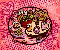 Abbildung der seitlichen Teller Nahrungsmittel Lizenzfreie Stockfotos