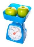 Abbildung der Skala mit Äpfeln Lizenzfreie Stockfotos
