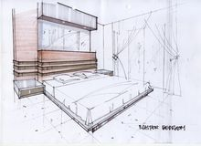 Abbildung der Skizze-3D für ein Vorlagenschlafzimmer Lizenzfreies Stockbild