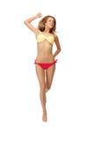 Abbildung der springenden Frau im Bikini Stockfotos