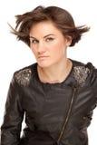 Abbildung der stilvollen Frau mit dem flatternden Haar Stockfoto