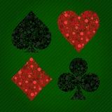 Abbildung der vier Kartenklagen auf Hintergrund Lizenzfreies Stockbild