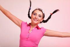 Abbildung des überraschten Frauenhaares im Zopf Lizenzfreies Stockbild