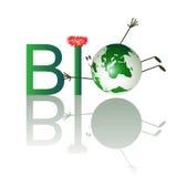 Abbildung des Biotextes mit lustigem Planeten Lizenzfreie Stockfotos