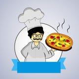 Abbildung des Chefs mit Pizza Lizenzfreie Stockfotografie