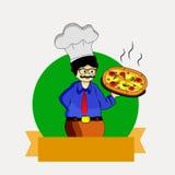 Abbildung des Chefs mit Pizza Lizenzfreies Stockfoto