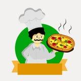 Abbildung des Chefs mit Pizza Stockfotos