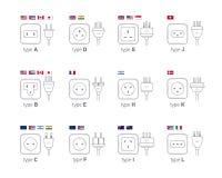 Abbildung des elektrischen Anschlusses Unterschiedliche Art Netzdosensatz, Ikonenillustration für unterschiedliches Land verstopf Lizenzfreie Stockfotos