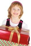 Abbildung des glücklichen kleinen Mädchens mit Geschenk Stockfoto