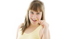 Abbildung des glücklichen Mädchens mit Zahnbürste Lizenzfreies Stockbild
