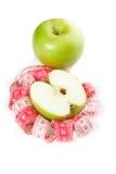 Abbildung des grünen Apfel- und Maßbandes Stockbilder