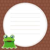 Abbildung des grünen Frosches mit weißem Leerzeichen Lizenzfreie Stockfotografie
