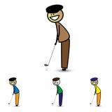 Abbildung des jungen Jungen (Kind) den Klumpen anhalten, der Golfspiel spielt Stockfotografie