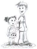 Abbildung des Jungen und des Mädchens Lizenzfreies Stockfoto