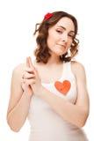 Abbildung des Mädchens eingebildetes Gewehr zeigend Stockfotografie