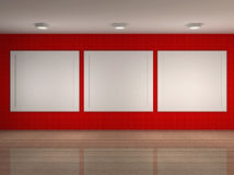 Abbildung des Museumsinnenraums mit Feldern Lizenzfreie Stockfotografie