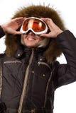 Abbildung des netten Skifahrers Stockbild