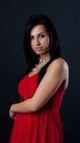 Abbildung des reizvollen Brunette im roten Kleid Stockbilder