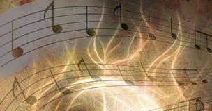 Abbildung des Retro musikalischen Hintergrundes des Schmutzes mit Anmerkungen Lizenzfreies Stockbild