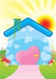 Abbildung des süßen Hauses stockbilder