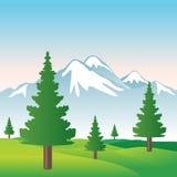 Abbildung des schönen schneebedeckten Berges Stockfoto