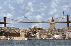 Abbildung des sehr großen Hintergrundes von Istanbul. Stockbild