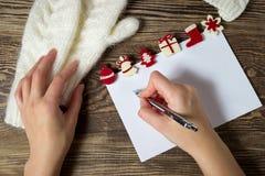 Abbildung des VektorEps10 Zeichen zu Weihnachtsmann Wunschliste-Winterhintergrund Lizenzfreie Stockfotos