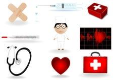 Abbildung ein medizinisches Set und der Doktor Lizenzfreie Stockfotografie