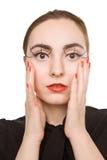 Abbildung einer Frau mit den roten Lippen Stockbild