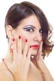 Abbildung einer netten Frau mit der Hand auf ihr Lizenzfreie Stockbilder