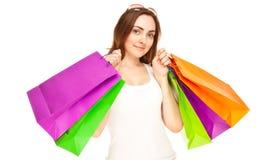 Abbildung einer schönen Frau mit Einkaufenbeuteln Stockfoto