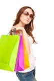 Abbildung einer schönen Frau mit Einkaufenbeuteln Lizenzfreies Stockfoto
