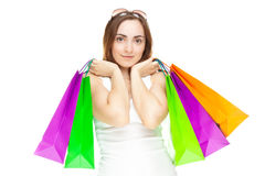 Abbildung einer schönen Frau mit Einkaufenbeuteln Lizenzfreie Stockfotos