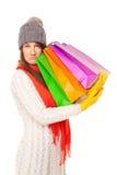 Abbildung einer schönen Frau mit Einkaufenbeuteln Lizenzfreie Stockfotografie