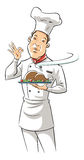 Abbildung eines Chefs, der köstlichen Teller anhält Stockfotos