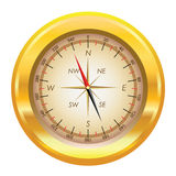 Abbildung eines Goldkompassses Stockbild