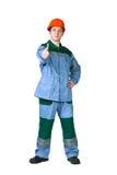 Abbildung eines jungen Bauarbeiters Stockbilder